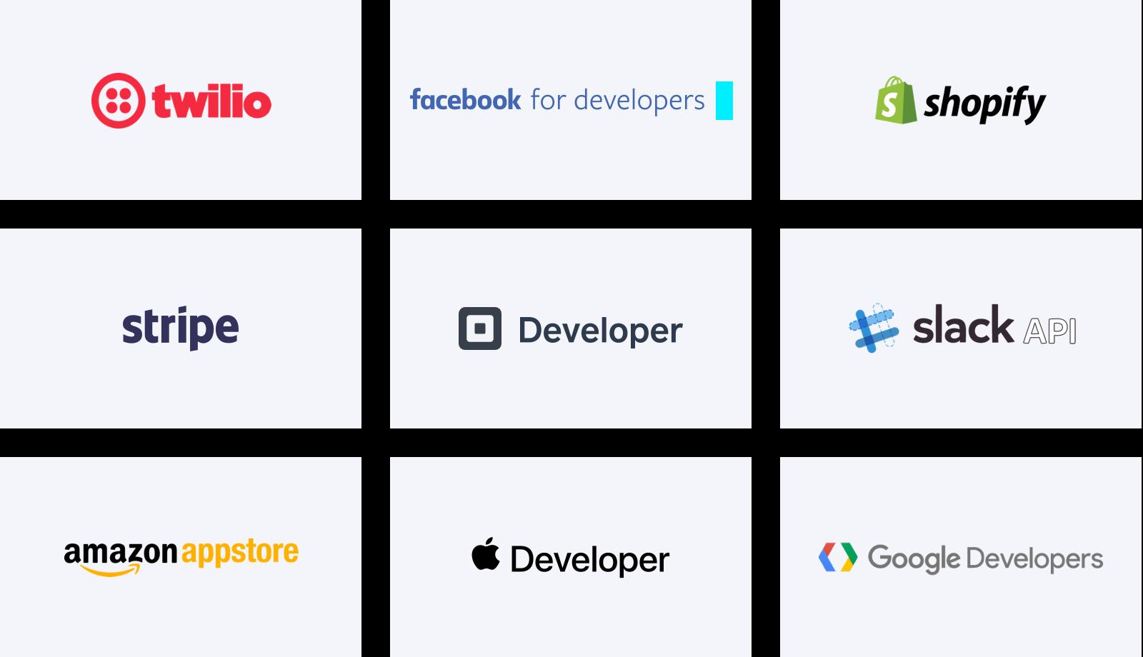 Logos of other developer platforms: Twitter, Facebook, Shopify, Stripe, Square, Slack, Apple, Google, Amazon,