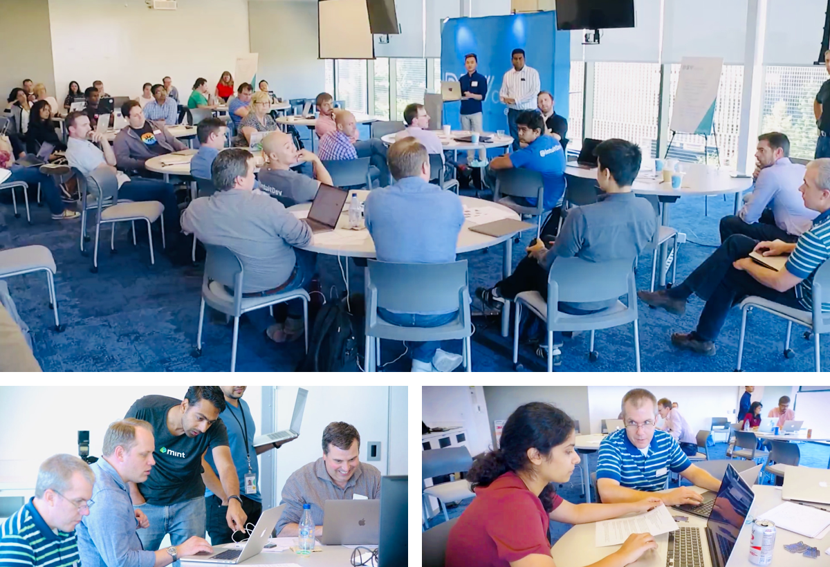 Collage of 3 pictures of ace speaking to developers at Developer Conference. Some developers are testing the new designs