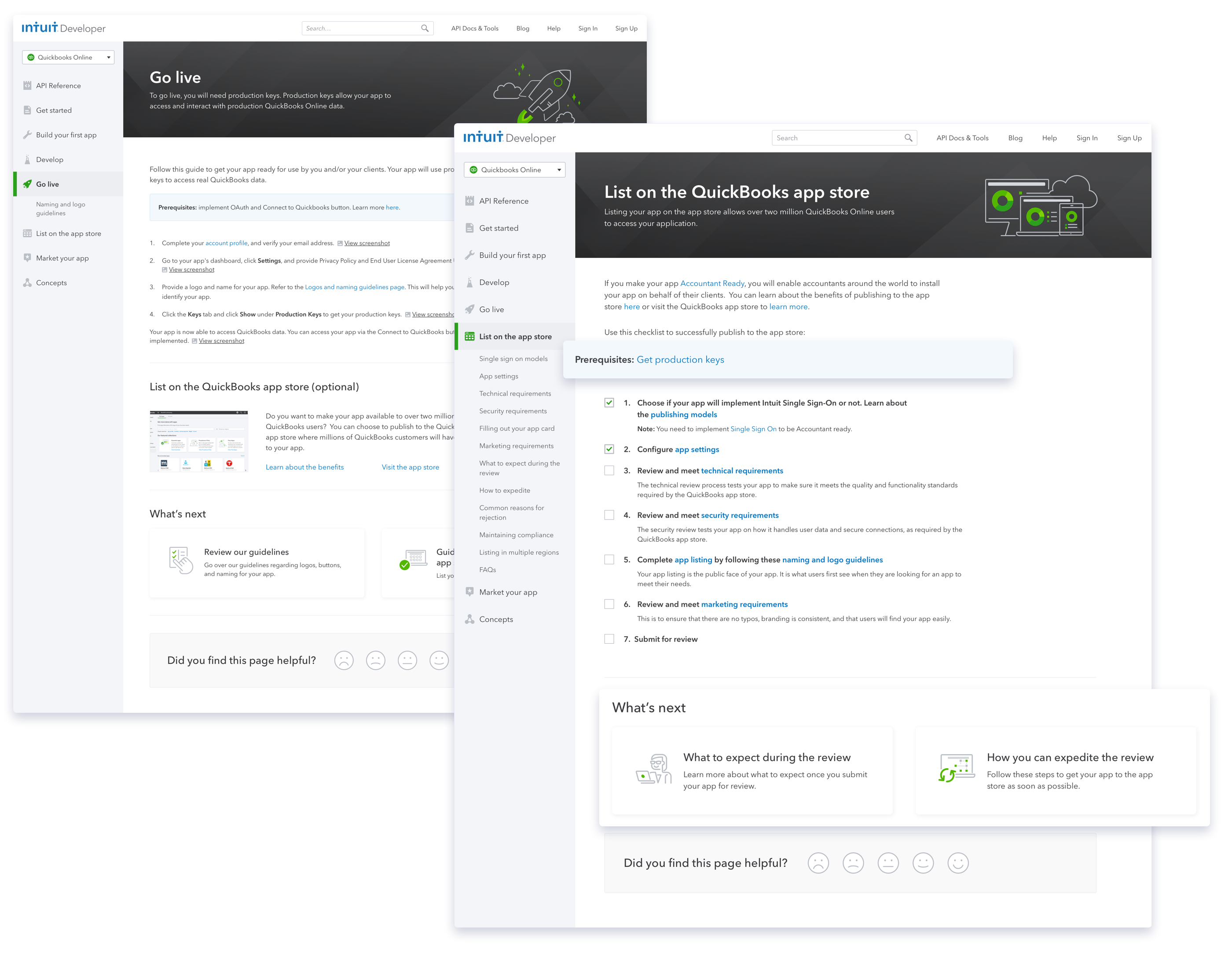 New Go-Live page and List your app on the QuickBooks store page with guidance for next step on each page