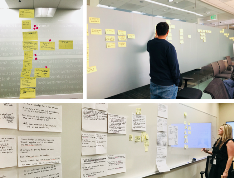 Collages of whiteboard with sticky notes and peopel in front discussing them in the design sprint