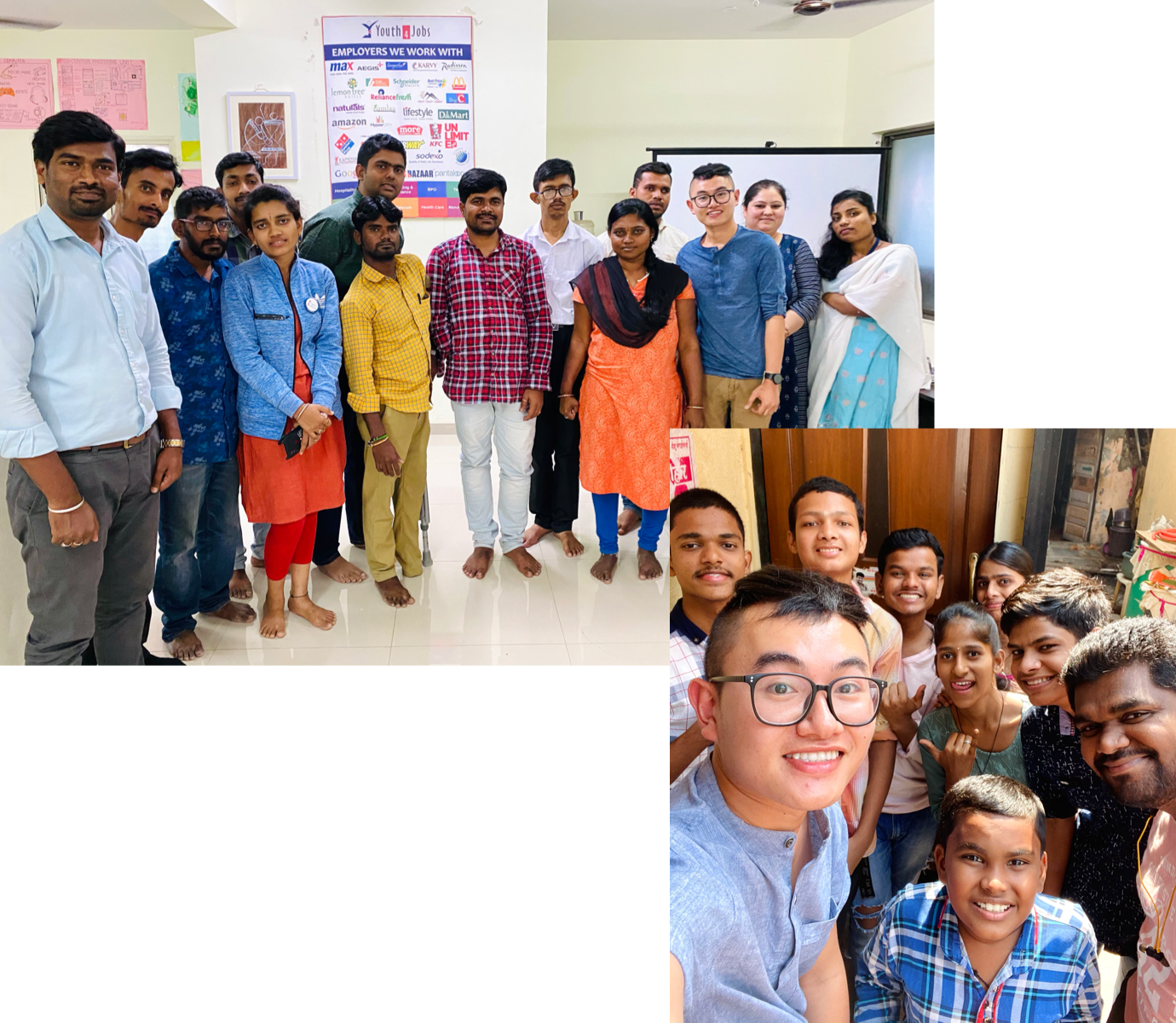 Collage of 2 pictures of ace and people he met in India. First picture he is standing with a group of people at the disability center. Second picture he is taking a selfie with kids at the learning center