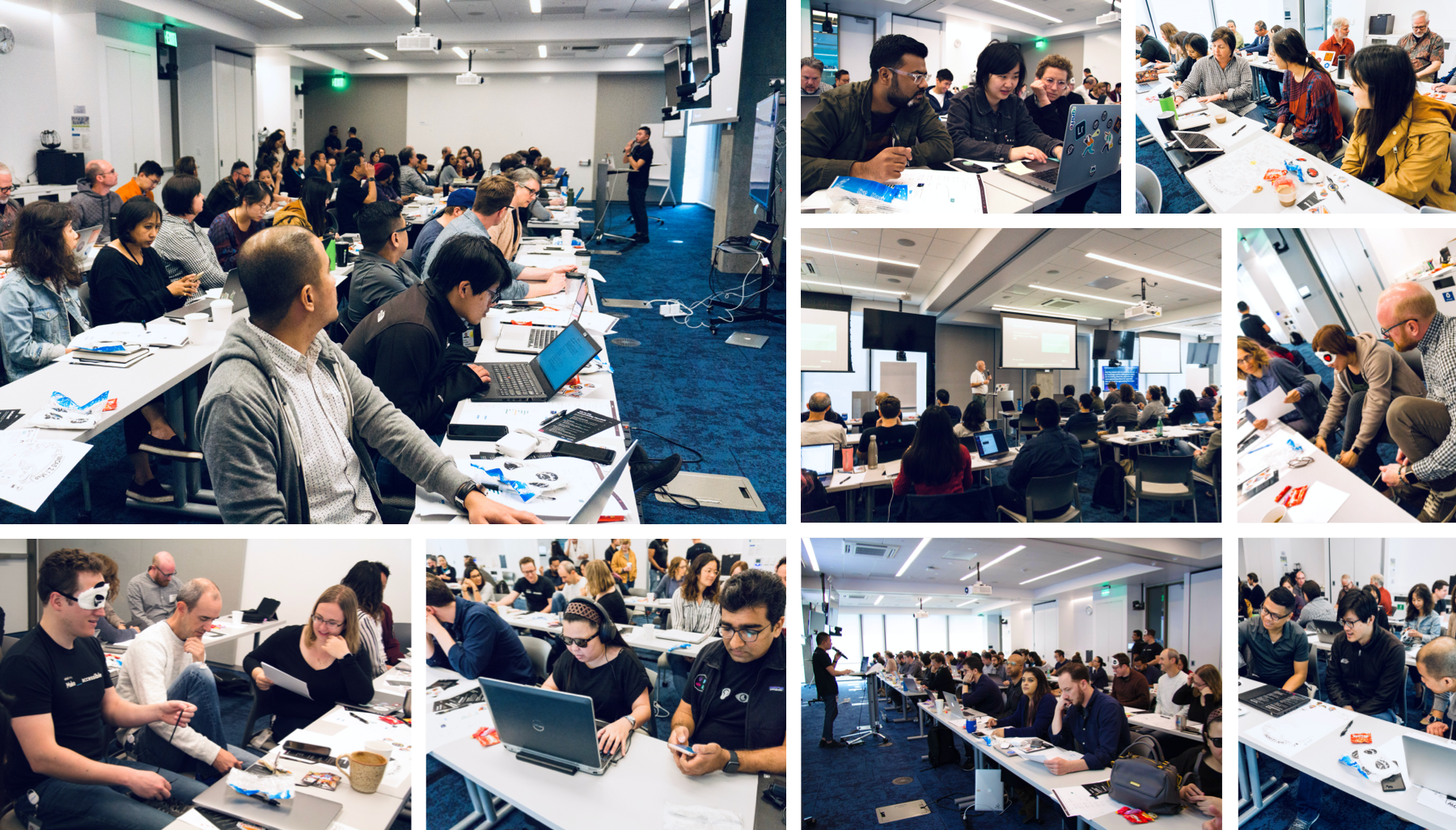 Collage of 9 pictures showing designers in the training doing activities and listening to the speakers