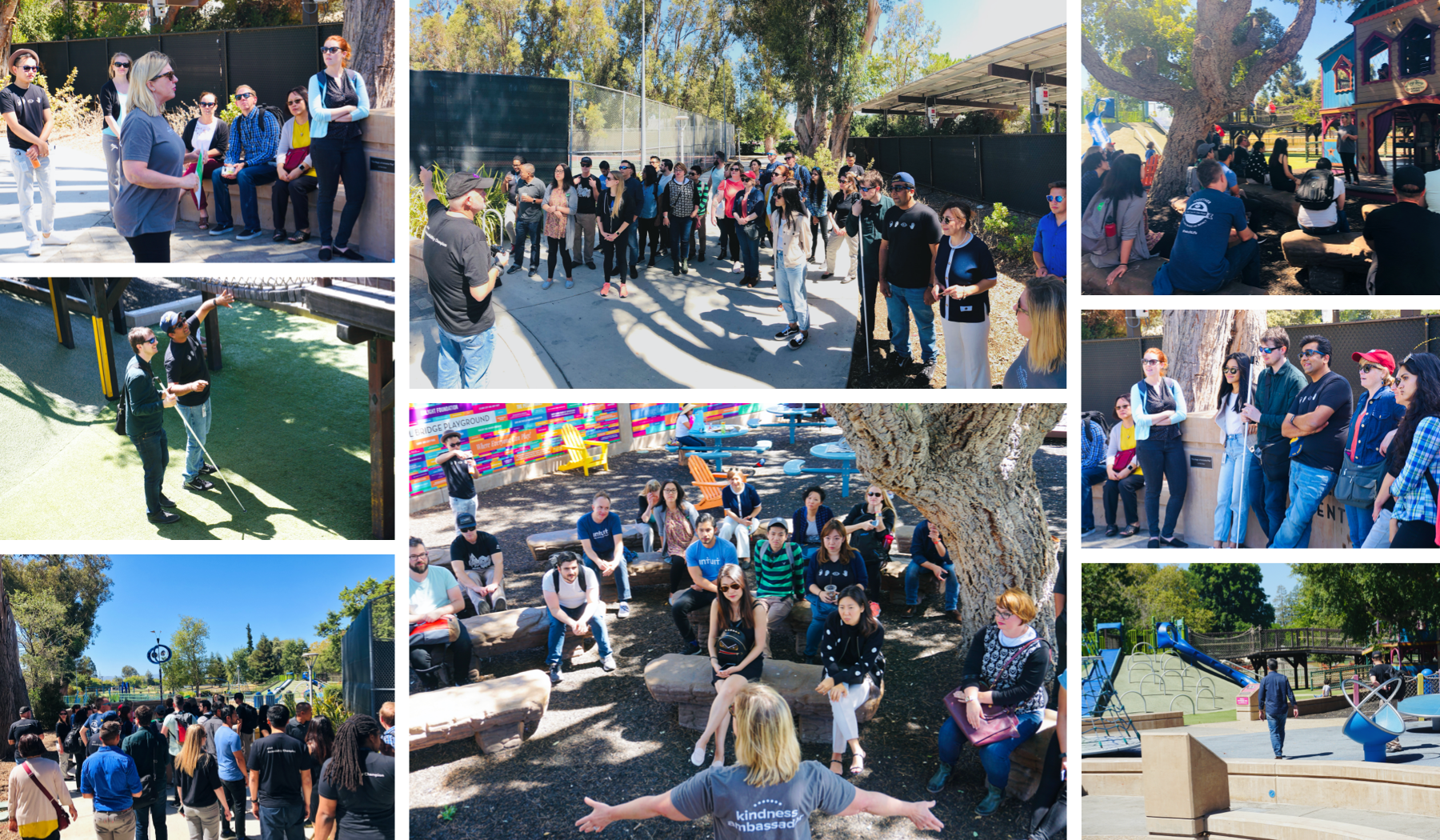 Collage of 8 pictures showing designers exploring the Magical Bridge Playground, listening to the founder speaking at different spots of the playground, explaining their reasons for each decision.