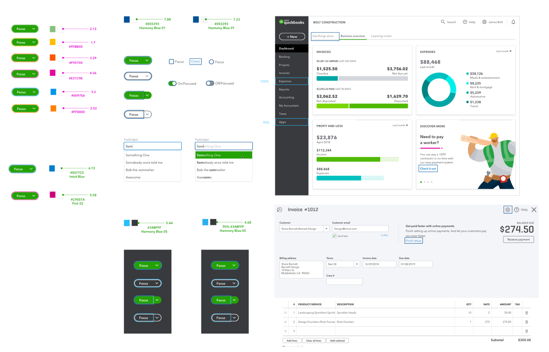 Visual exploration of placing the visual indicator on buttons and QuickBooks page
