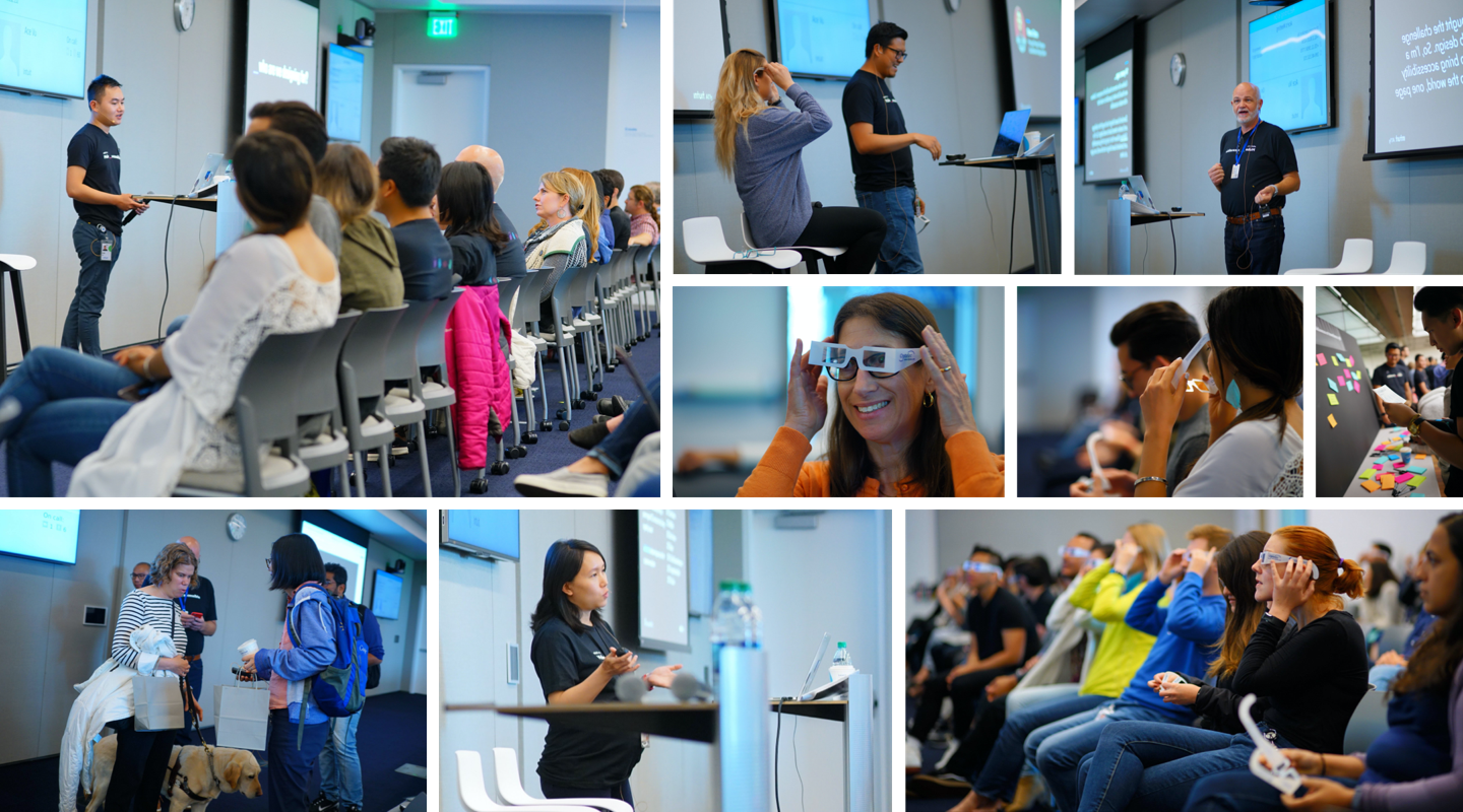Collage of 9 pictures from the Make _ acccessible event showing speakers and audiences.