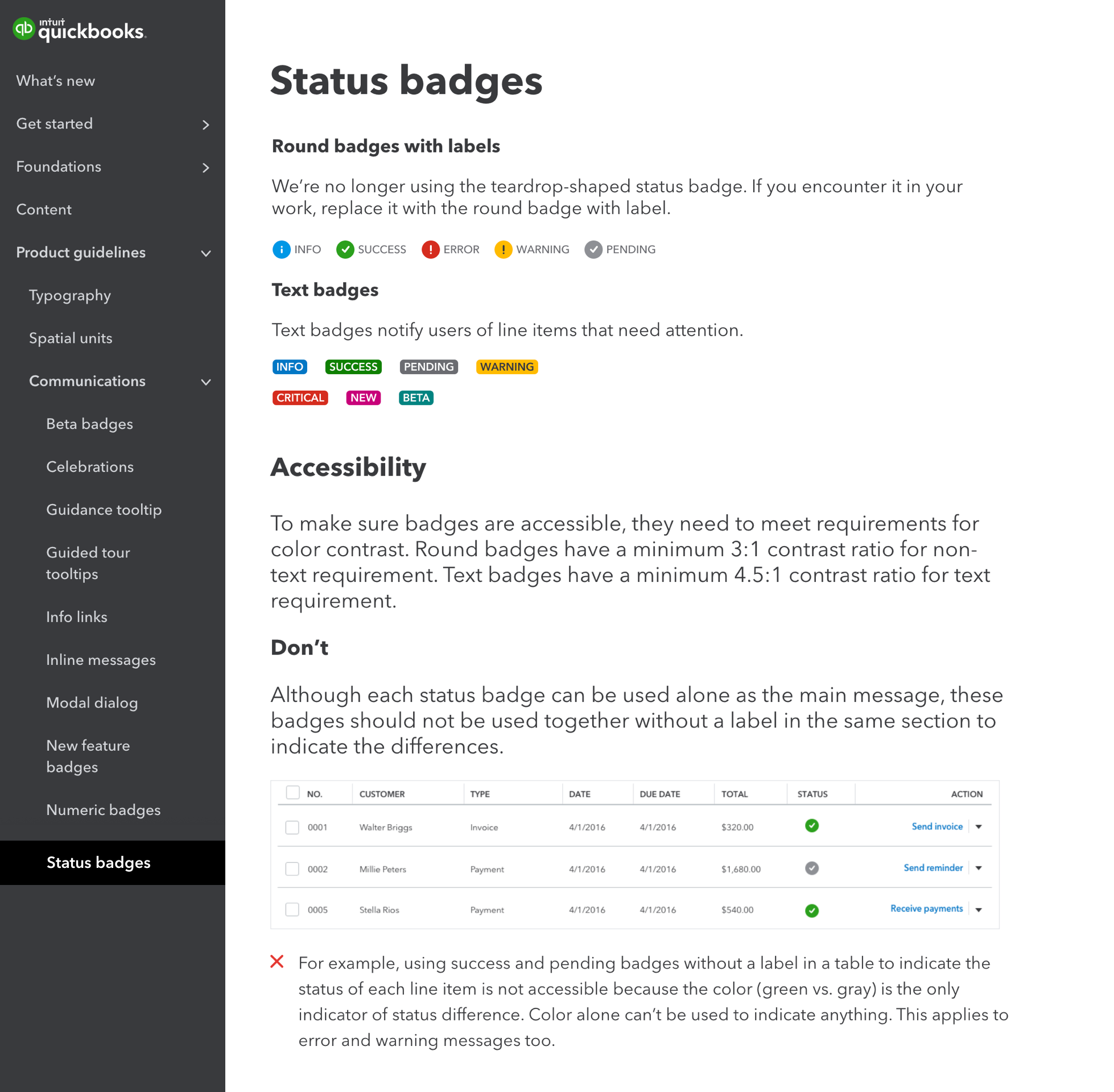 Screenshot of status badge page on the QuickBooks Design System website that shows accessibility guideline section to guide designers how and how not to use the component