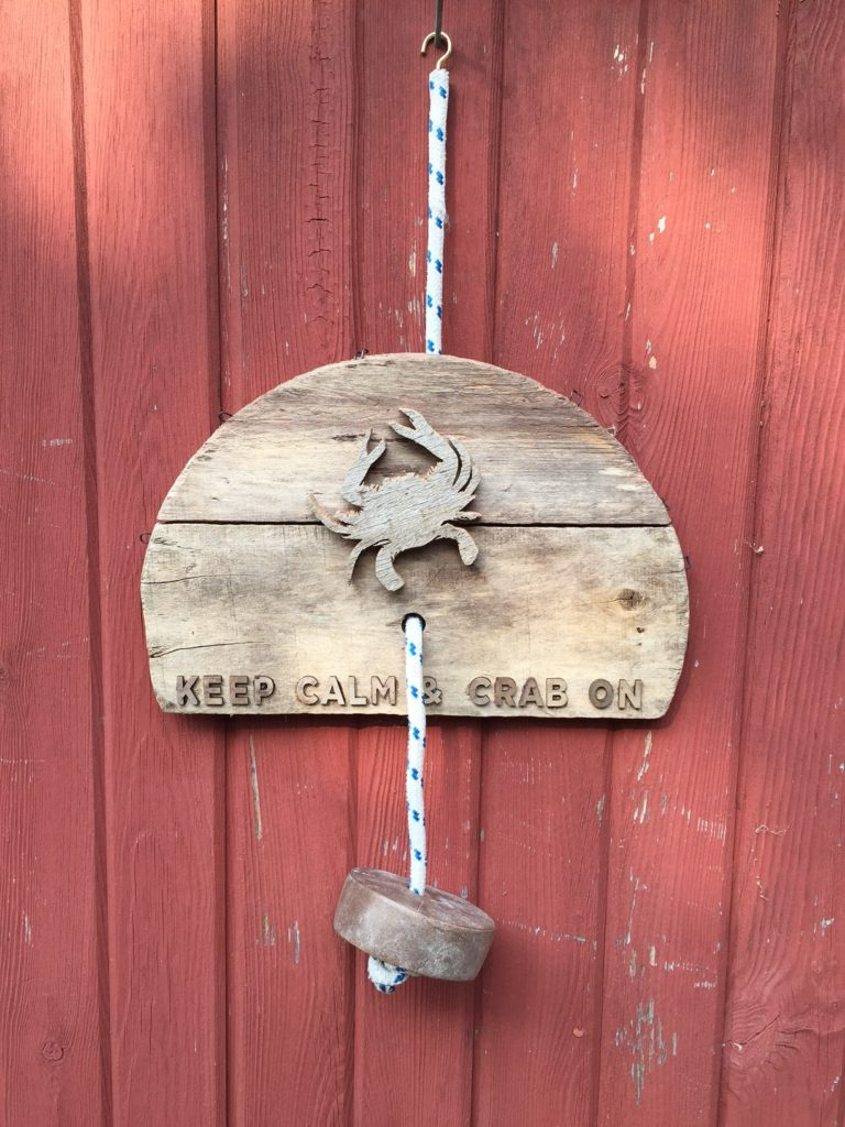 Recycled crab basket bottom, recycled cedar, recycled line recycled crab float and wooden letters.