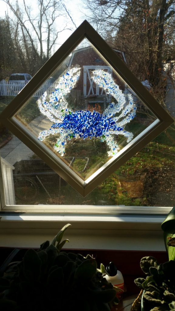 Recycled Glass Blue Crab
