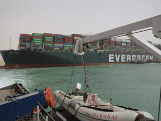 The stuck Ever Given container ship in the Suez Canal on March 25.