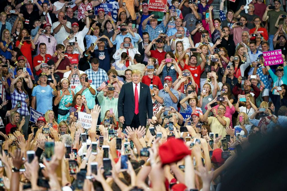 PHOTO: President Donald Trump makes his first visit to Minnesota as president on June 20, 2018, in Duluth, Minn.