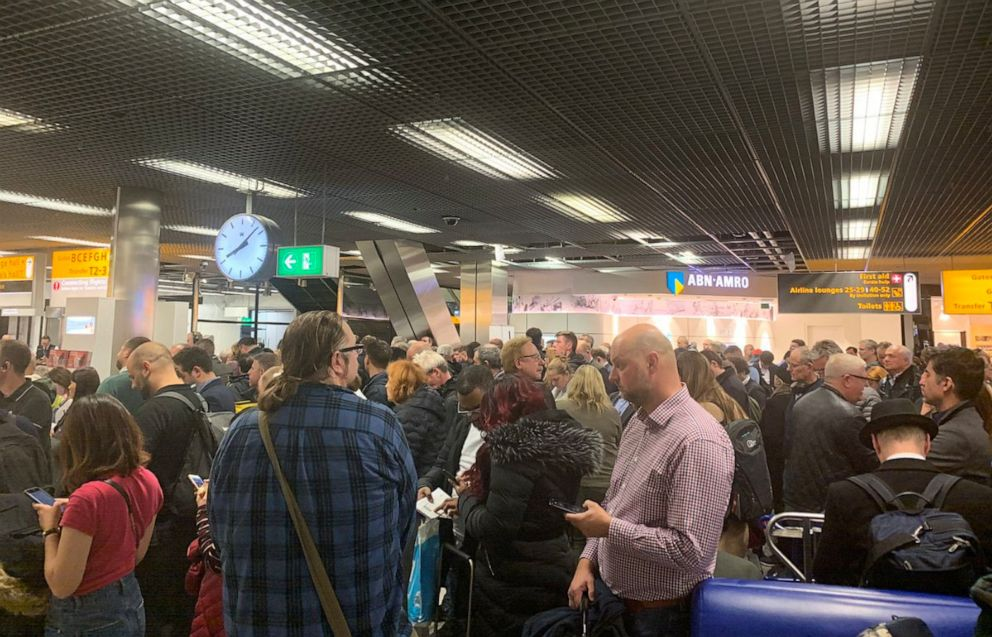 PHOTO: Passengers stand inside Amsterdams Schiphol Airport during a security alert, Netherlands, Nov. 6, 2019, in this picture obtained from social media.