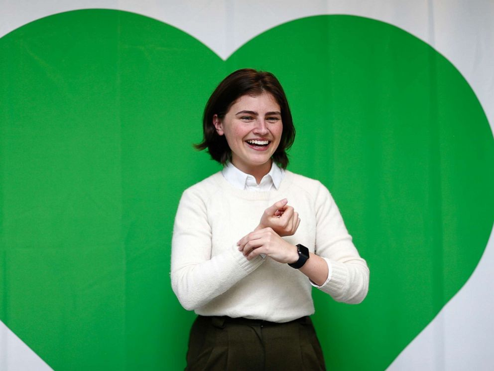 PHOTO: Then-Green Party candidate Chloe Swarbrick laughs during the 2017 Green Party Conference on July 16, 2017, in Auckland, New Zealand.