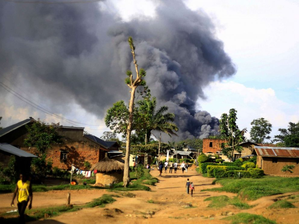 PHOTO: Smoke from the United Nations compound rises in Beni, Democratic Republic of Congo, Nov. 25, 2019.