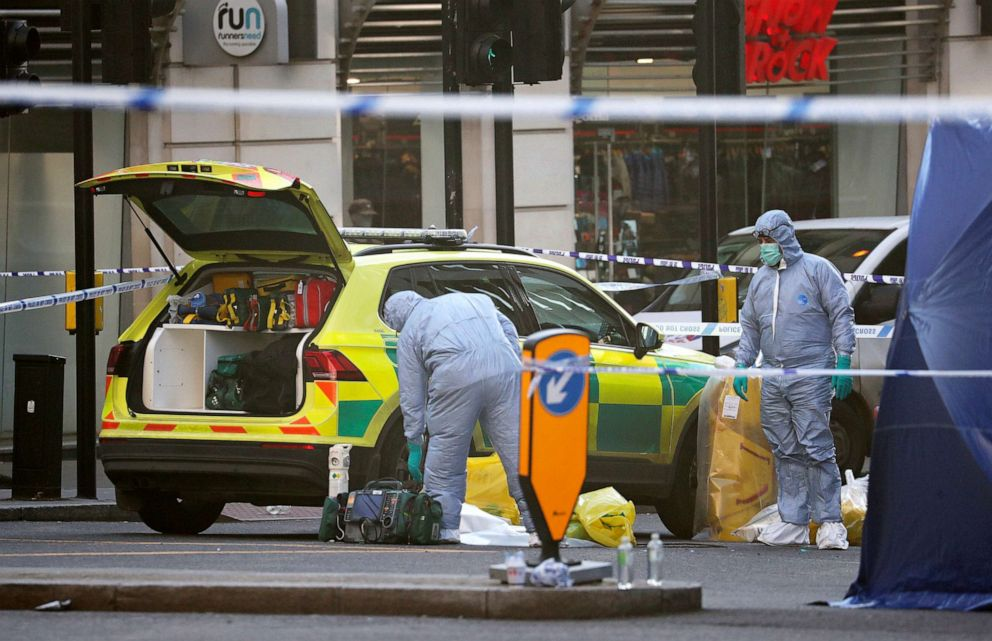 PHOTO: Forensic officers attend the scene in central London, Saturday, Nov. 30, 2019, after an attack on London Bridge on Friday.
