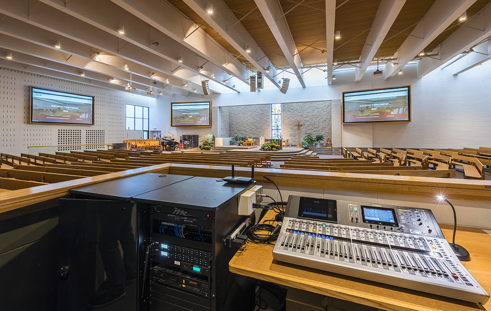 Risen Savior mixing console and speakers_smaller