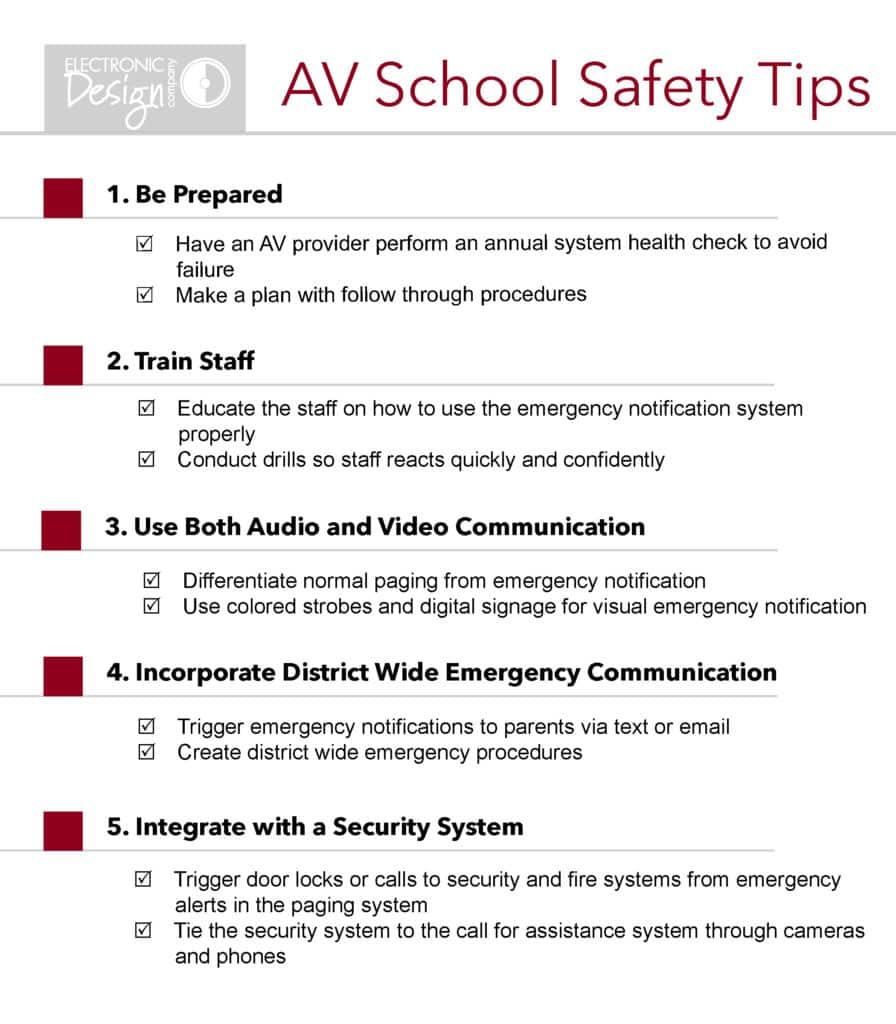 audio video school safety tips