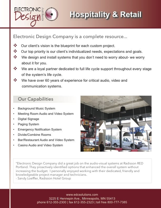 Hospitality and Retail line card