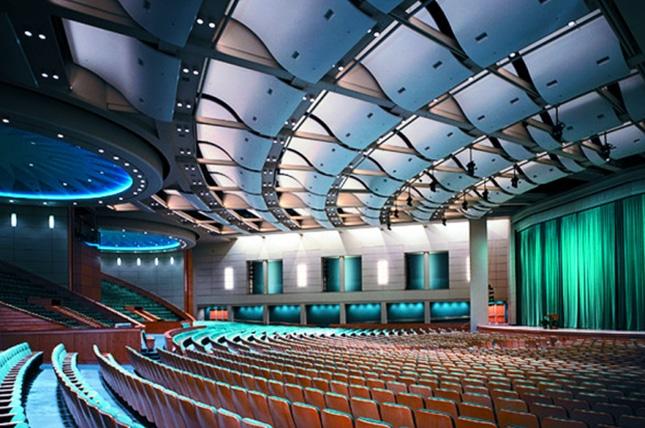 Auditorium with acoustic panels