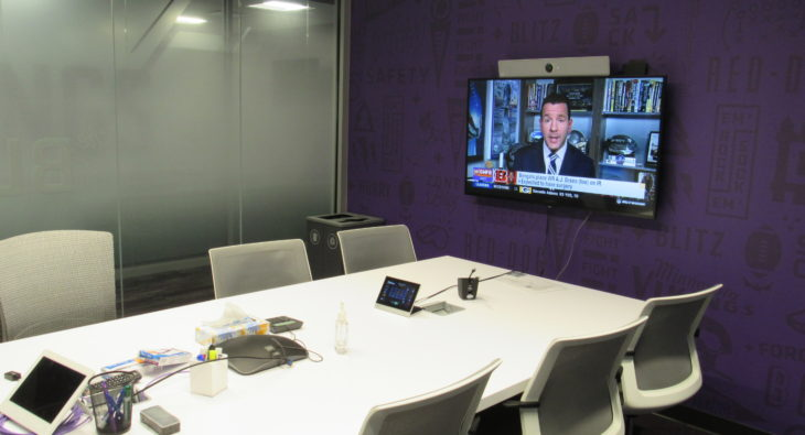 Conference room with video monitors