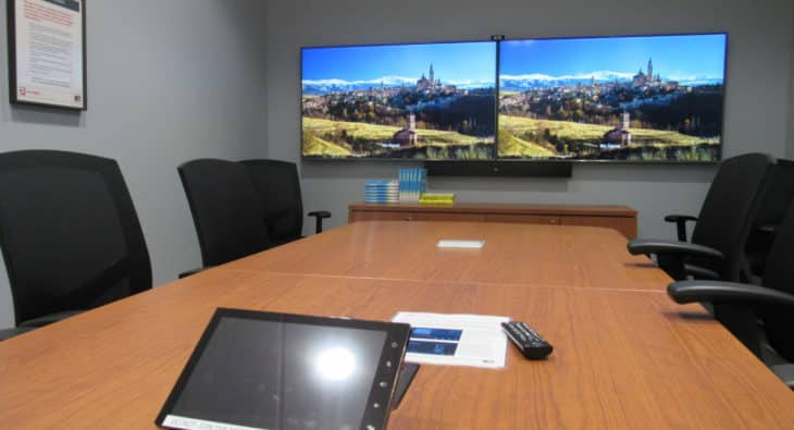 boardroom with high-resolution video screens