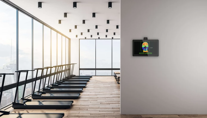 Tauri temperature check tablet in a fitness facility