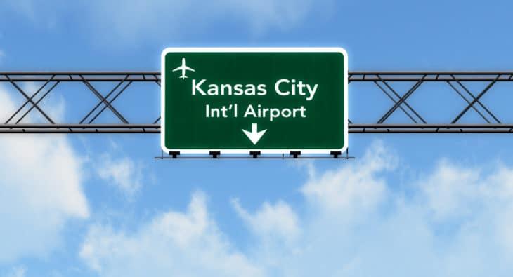 Kansas City USA Airport Highway Sign
