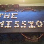 Spelling The Mission with Home made cookies.