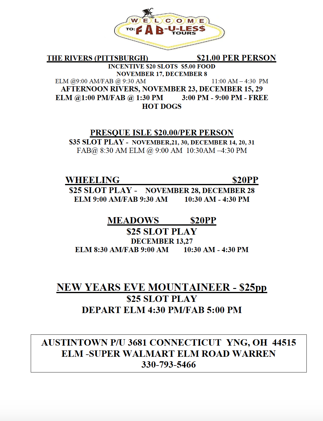 December limo tours