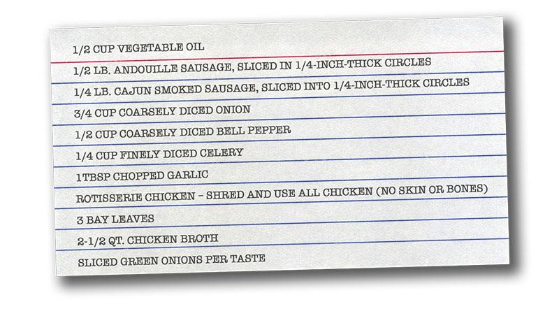 Gumbo ingredients on index card