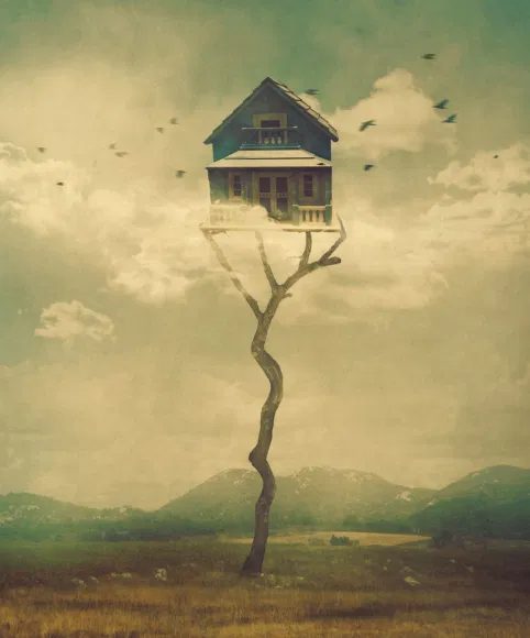 surreal image of a house perched atop a tall dead tree