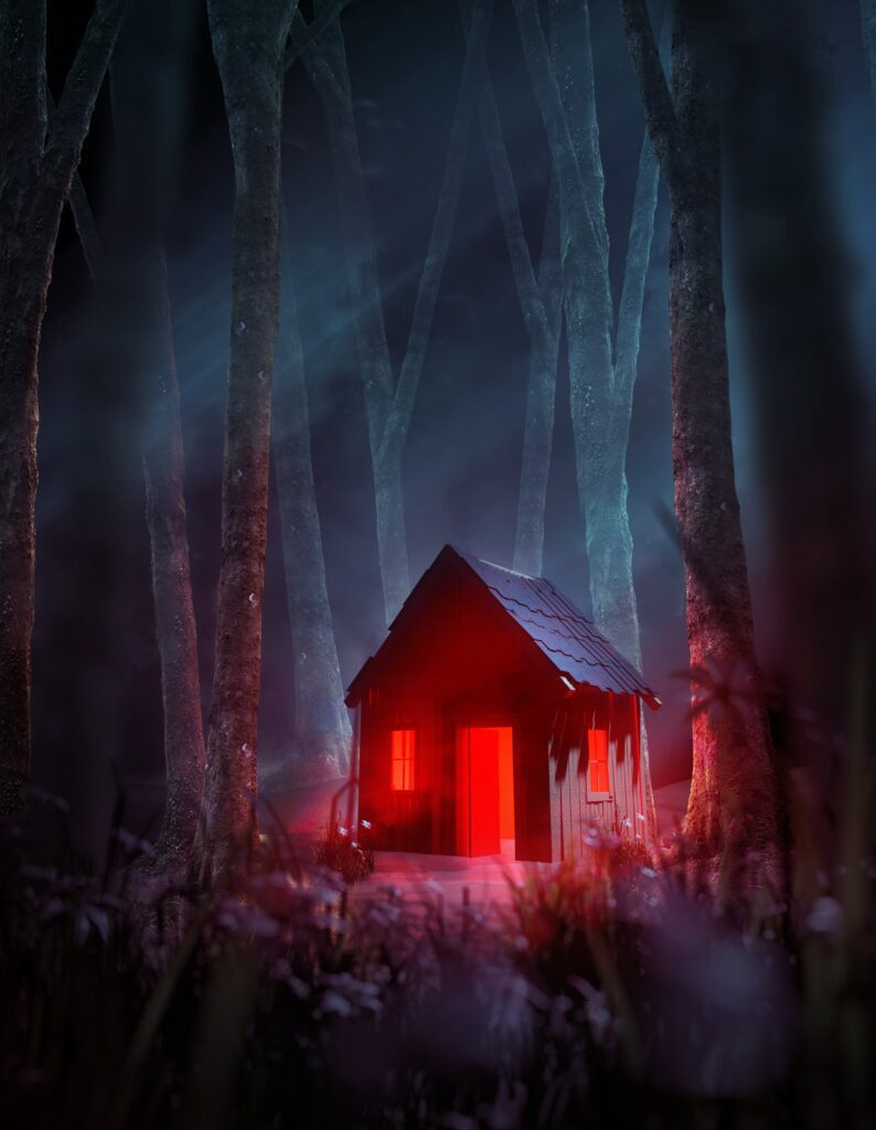 A spooky cabin in the woods