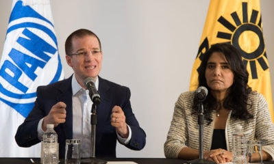 Ricardo Anaya, presidente Nacional del PAN, y Alejandra Barrales, presidenta nacional del PRD, ofrecieron una conferencia de prensa