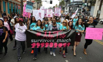 Mujeres marchan contra abuso y acoso sexual en el Cine