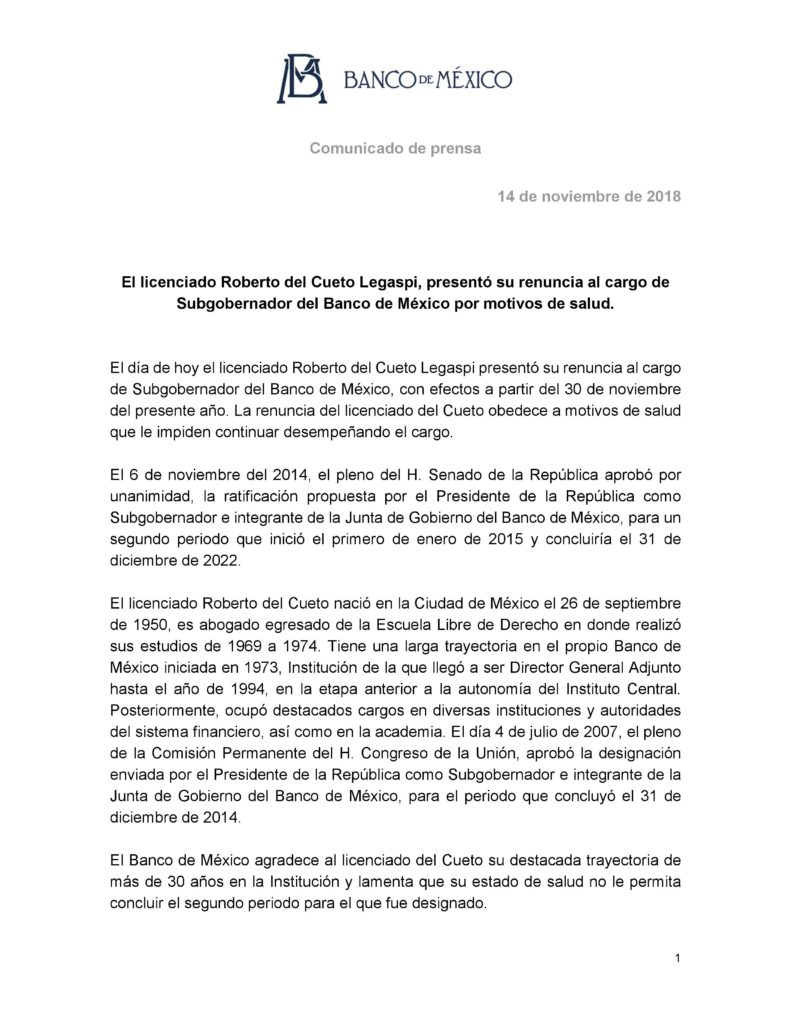 Comunicado Oficial del Banco de México