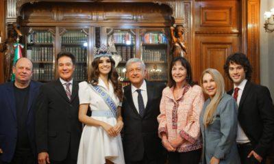 Miss mundo, miss, mundo, AMLO, Andrés Manuel, López Obrador, Palacio Nacional, Vanessa Ponce de León, Julia Morley