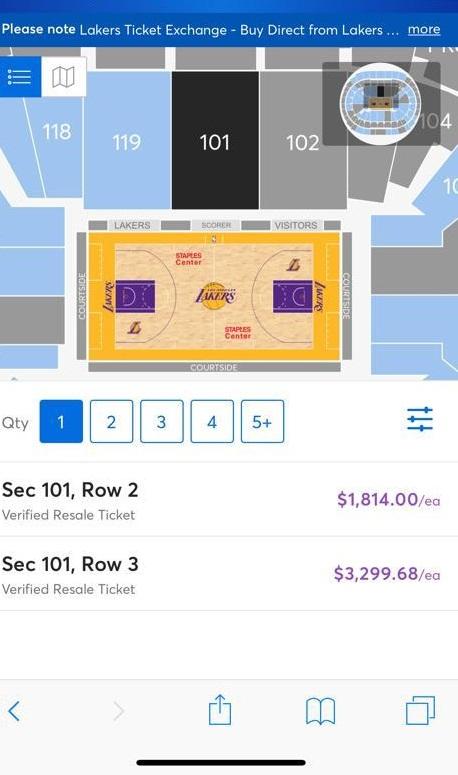 Costo de un boleto para ver a los Lakers