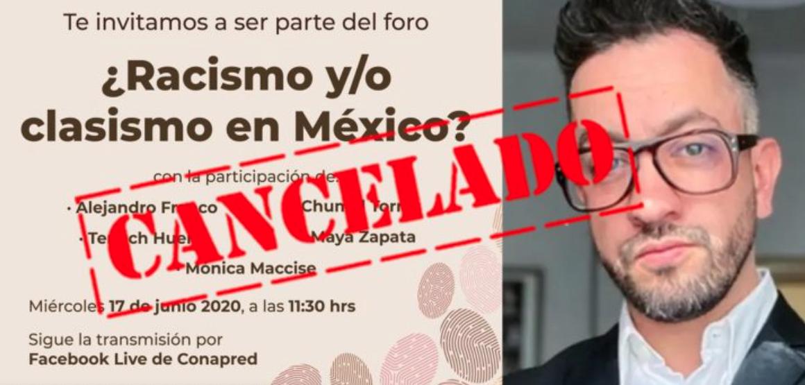 Tras críticas a Chumel Torres, Conapred cancela foro sobre racismo