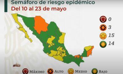 Reporta Salud 14 entidades en semáforo Covid color verde y 15 en amarillo