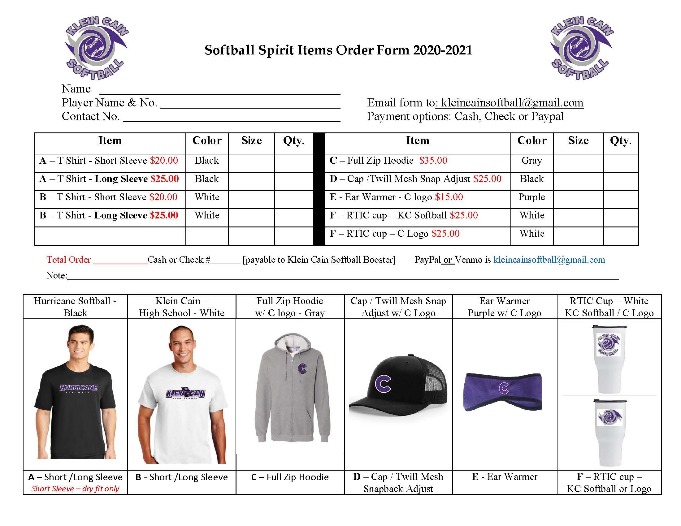 Cain Softball Spirit Wear 2021