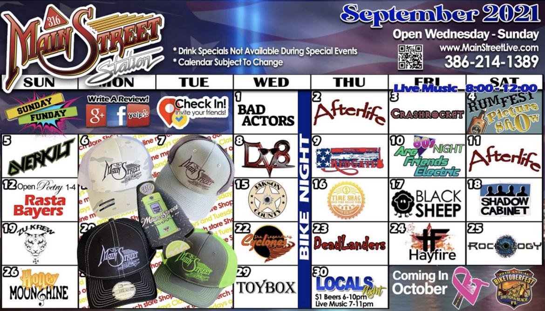 september 2021 event calendar 316 mainstreet station daytona beach garage bar live music