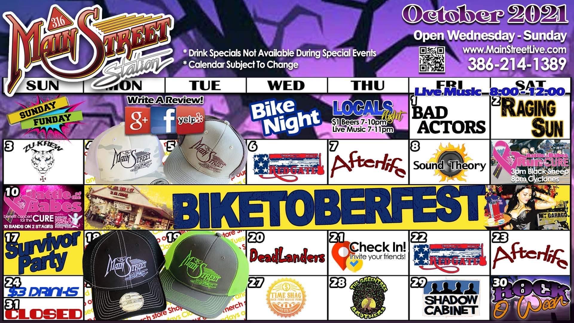 october 2021 event calendar 316 mainstreet station daytona beach garage bar live music