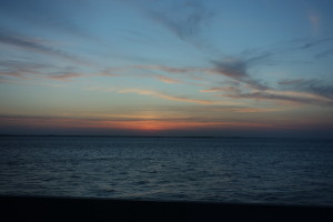 A beautiful sunset over the water as we drove home!