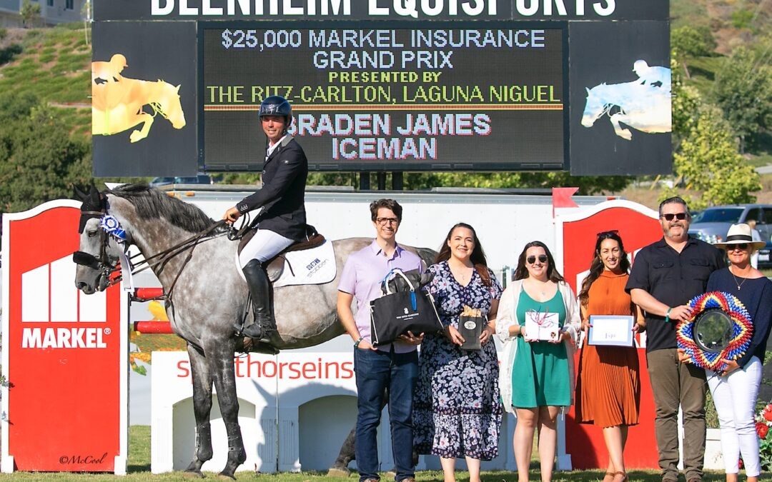 Braden James and Iceman are Top Guns in the $25,000 Markel Insurance 1.45m Grand Prix at Blenheim June Classic III