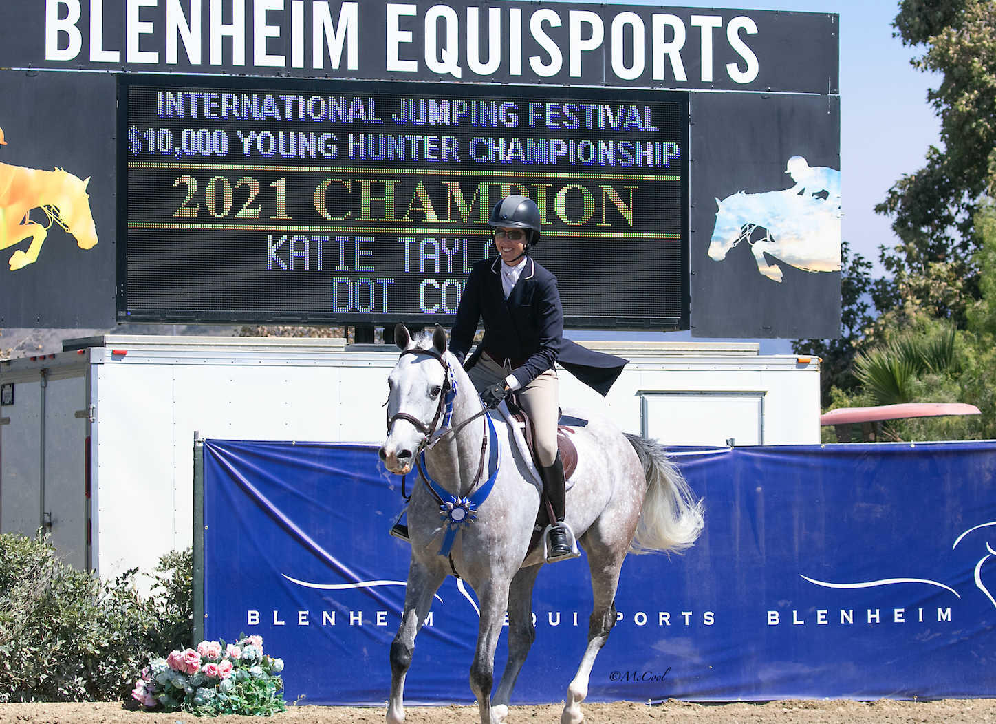 Katie Taylor and Dot Com leading the victory gallop.