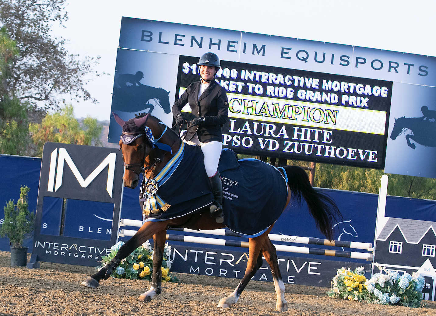 Laura Hite and Calypso VD Zuutheove are all smiles leading the victory gallop.