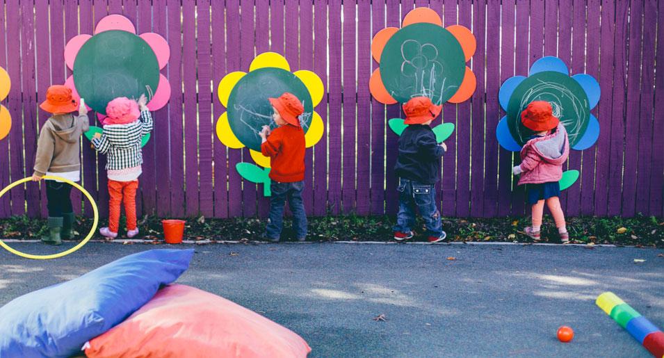 Children at chalkboards
