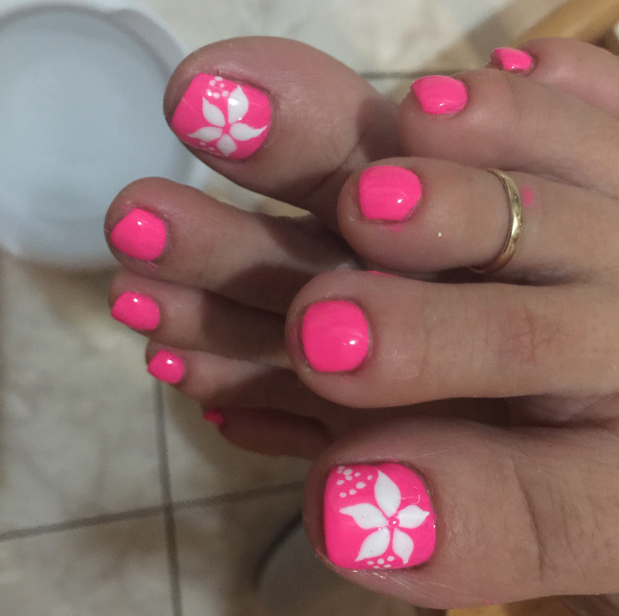 Pink Toes With White Flower