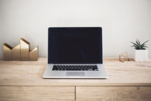sleek laptop on modern desk