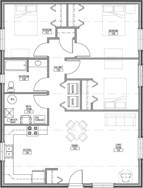 3 bedroom 1 bath rectangle model