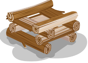 wood logs stacked cabin style graphic